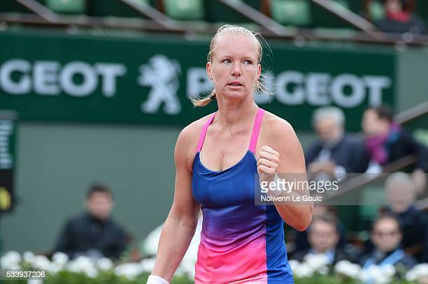 Kiki Bertens celebrates during the Women's Singles first round on day three of the French Open 2016 at Roland Garros on May 24 2016 in Paris France