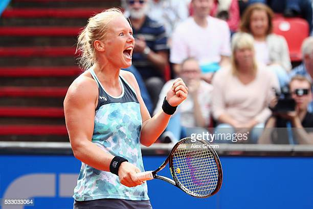 Kiki Bertens of Netherlands celebrates after defeating Julia Goerges during day seven of the Nuernberger Versicherungscup 2016 on May 20 2016 in...