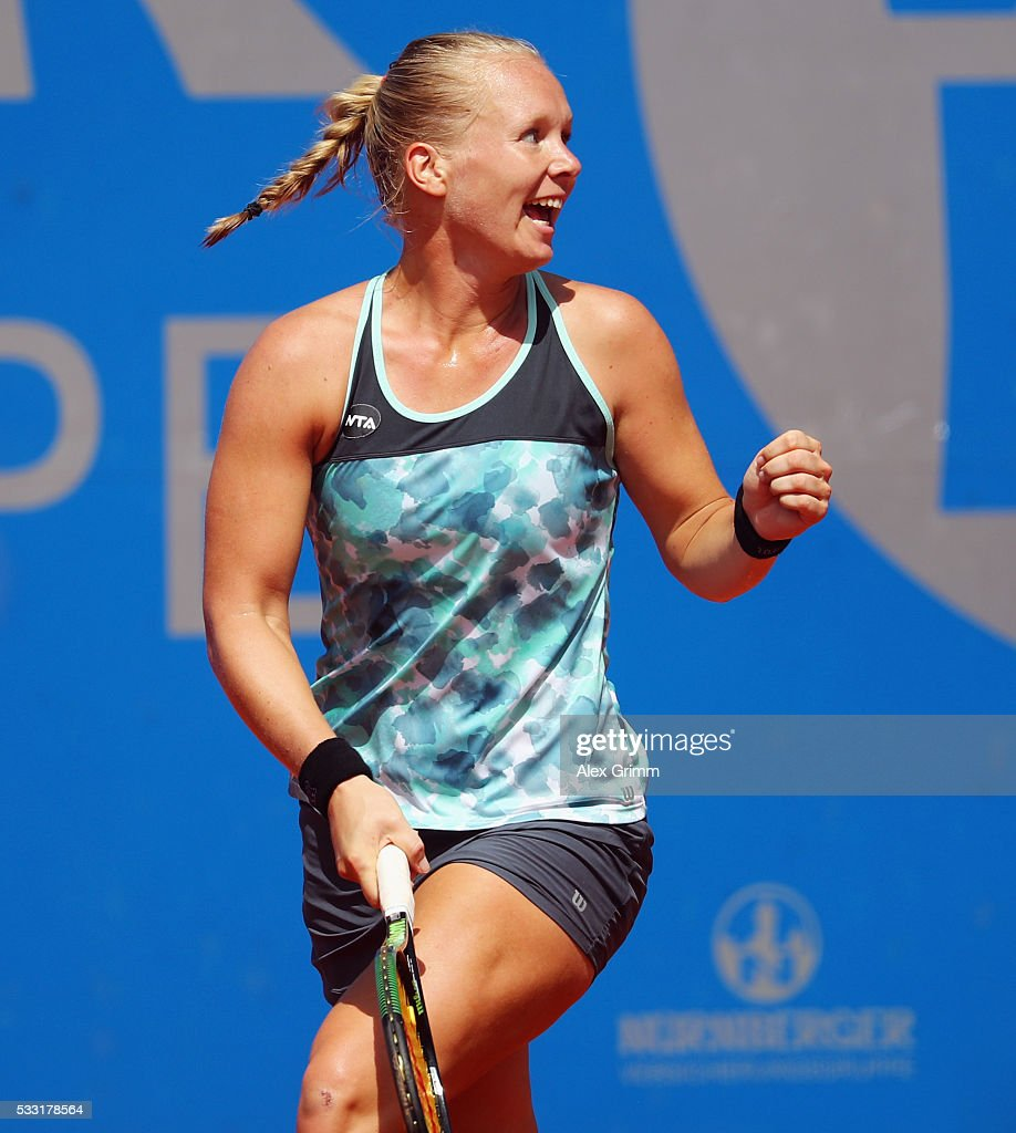 Kiki Bertens of Netherlands celebrates after winning singles final match against Mariana Duque-Marino of Colombia on day eight of the Nuernberger Versicherungscup 2016 on May 21, 2016 in Nuremberg, Germany.