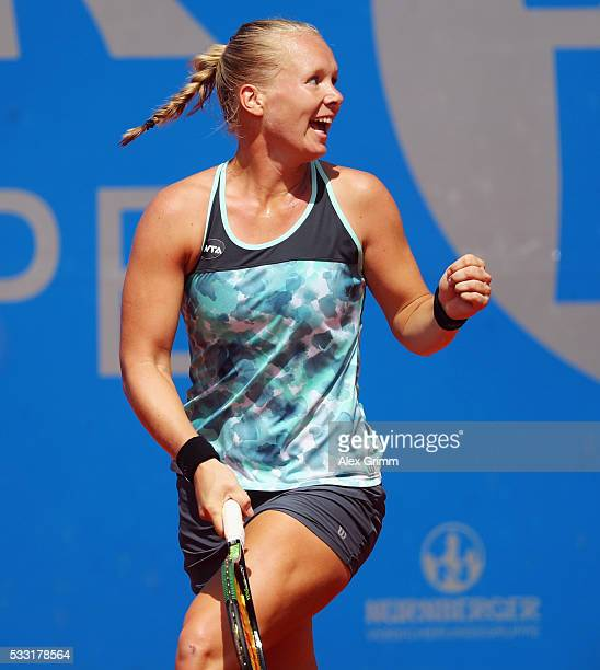 Kiki Bertens of Netherlands celebrates after winning singles final match against Mariana DuqueMarino of Colombia on day eight of the Nuernberger...