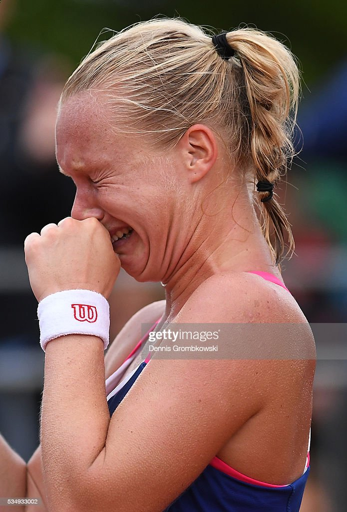 Kiki Bertens of Netherlands celebrates victory during the Ladies Singles third round match against Daria Kasatkina of Russia on day seven of the 2016 French Open at Roland Garros on May 28, 2016 in Paris, France.