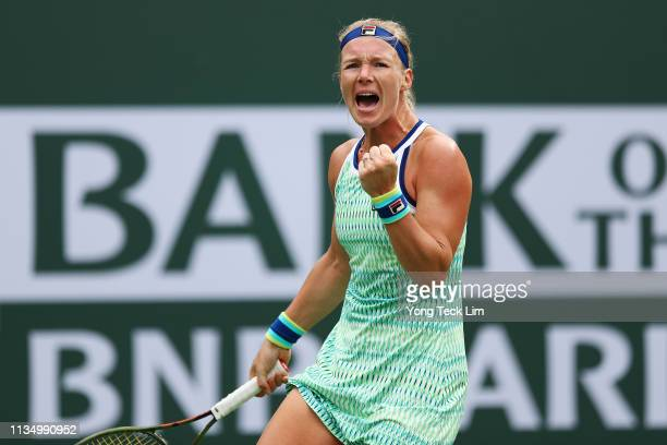 Kiki Bertens of Netherlands celebrates winning her women's singles third round match against Johanna Konta of Great Britain on Day 7 of the BNP...