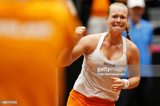 'SHERTOGENBOSCH NETHERLANDS APRIL 20 Kiki Bertens of Netherlands celebrates winning the match against Kurumi Nara of Japan during the Fed Cup World...