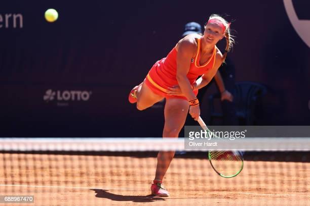 Kiki Bertens of Netherlands in action against Barbora Krejcikova of Czech Republic in the final match during the WTA Nuernberger Versicherungscup on...