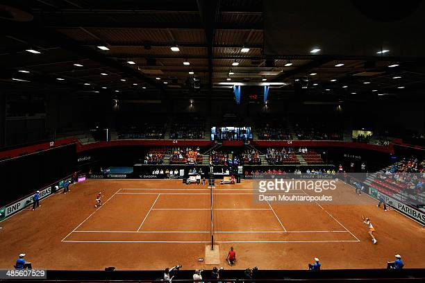 'SHERTOGENBOSCH NETHERLANDS APRIL 19 Kiki Bertens of Netherlands in action against Misaki Doi of Japan during the Fed Cup World Group II Playoff...