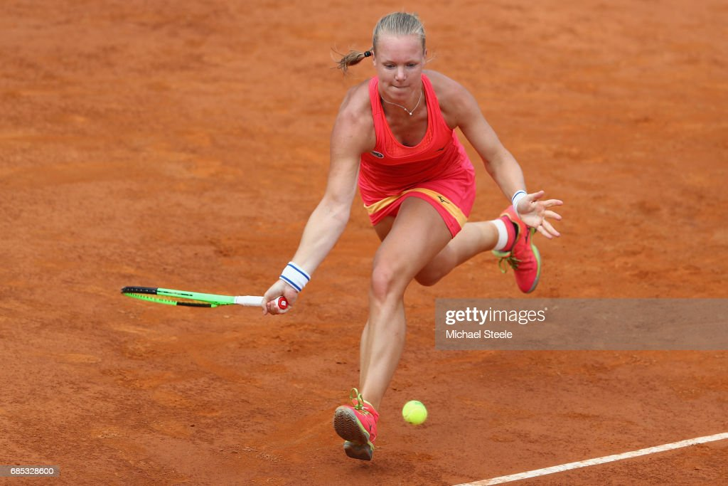 Kiki Bertens of Netherlands in action during the women's quarter-final match against Daria Gavrilova of Australia on Day Six of the Internazionali BNL d'Italia 2017 at Foro Italico on May 19, 2017 in Rome, Italy.