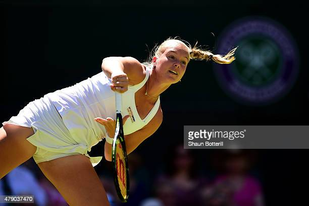 Kiki Bertens of Netherlands in action in her Ladies Singles first round match against Petra Kvitova of Czech Republic during day two of the Wimbledon...