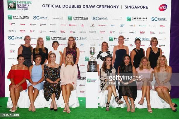 Kiki Bertens of Netherlands Johanna Larsson of Sweden YiFan Xu of China Gabriela Dabrowski of Canada Kveta Peschke of Czech Republic and AnnaLena...