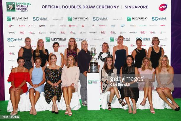 Kiki Bertens of Netherlands Johanna Larsson of Sweden YiFan Xu of China Gabriela Dabrowski of Canada WTA Legend Ambassador Martina Navratilova of the...