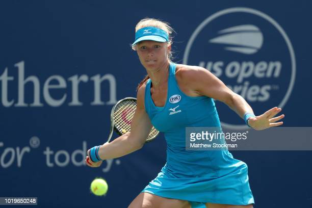 Kiki Bertens of Netherlands returns a shot to Simona Halep of Romania during the women's final of the Western Southern Open at Lindner Family Tennis...