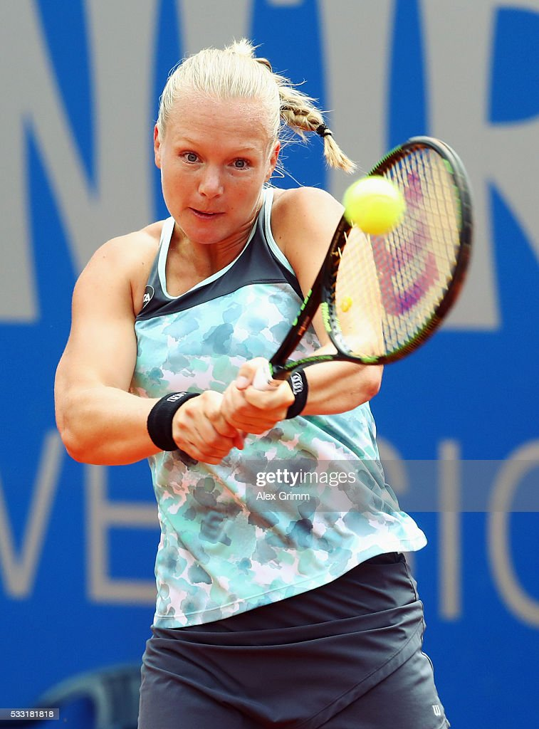 Kiki Bertens of Netherlands returns the ball to Mariana Duque-Marino of Colombia during their singles final match on day eight of the Nuernberger Versicherungscup 2016 on May 21, 2016 in Nuremberg, Germany.