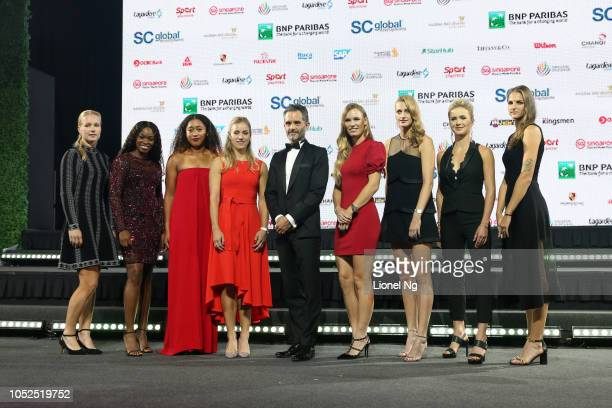 Kiki Bertens of Netherlands Sloane Stephens of United States Naomi Osaka of Japan Angelique Kerber of Germany Caroline Wozniacki of Denmark Petra...