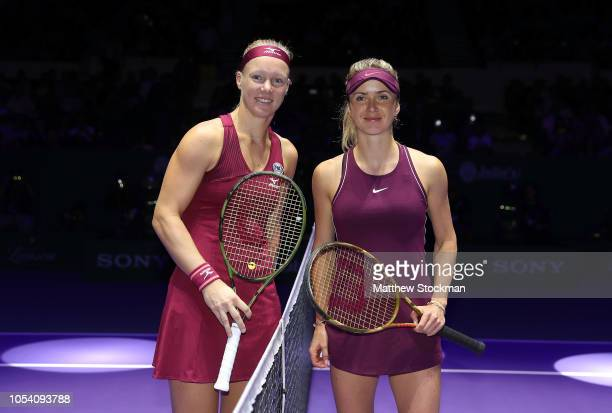 Kiki Bertens of the Netherlands and Elina Svitolina of the Ukraine pose during the women's singles semi final match on Day 7 of the BNP Paribas WTA...