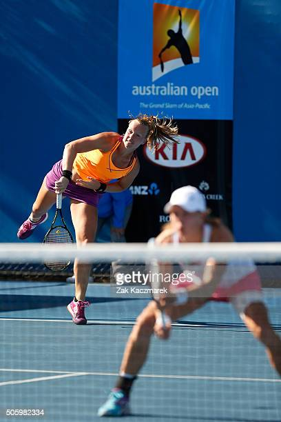 Kiki Bertens of the Netherlands and Johanna Larsson of Sweden compete in their first round match against Svetlana Kuznetsova of Russia and Roberta...