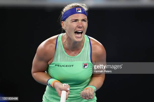Kiki Bertens of the Netherlands celebrates after winning the Women's Singles third round match against Zarina Diyas of Kazakhstan on day six of the...