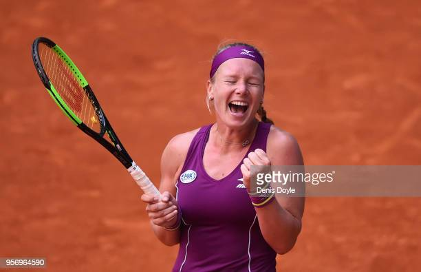 Kiki Bertens of The Netherlands celebrates her three sets victory over Maria Sharapova of Russia in their Quarterfinal match during day six of Mutua...