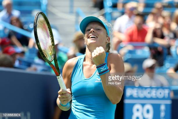 Kiki Bertens of the Netherlands celebrates match point over Petra Kvitova of the Czech Republic during Day 8 of the Western and Southern Open at the...