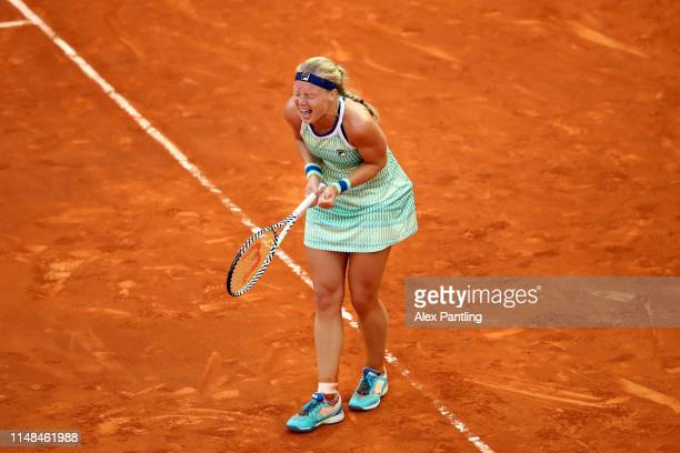 Kiki Bertens of The Netherlands celebrates victory during the ladies singles final against Simona Halep of Romania during day eight of the Mutua...