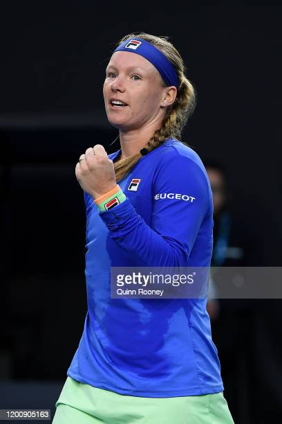 Kiki Bertens of the Netherlands celebrates winning match point during her Women's Singles first round match against Irina-Camelia Begu of Romania on...