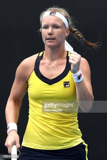 Kiki Bertens of the Netherlands celebrates winning set point in her semi final match against Ashleigh Barty of Australia during day six of the 2019...