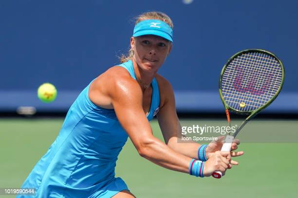 Kiki Bertens of the Netherlands hits a twohanded backhand shot during the Western Southern Open singles final at the Lindner Family Tennis Center in...