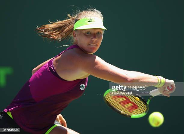 Kiki Bertens of the Netherlands plays a backhand against Venus Williams of the United States in their third round match during the Miami Open...