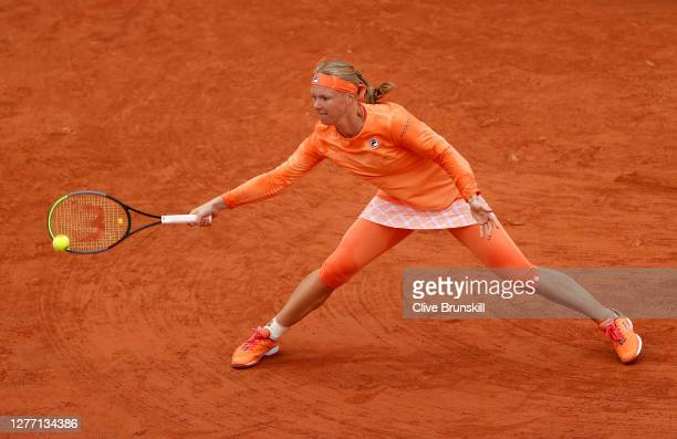 Kiki Bertens of the Netherlands plays a forehand during her Women's Singles first round match against Katarina Zavatska of Ukraine on day two of the...