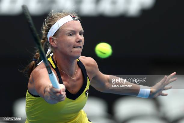 Kiki Bertens of the Netherlands plays a forehand in her semi final match against Ashleigh Barty of Australia during day six of the 2019 Sydney...