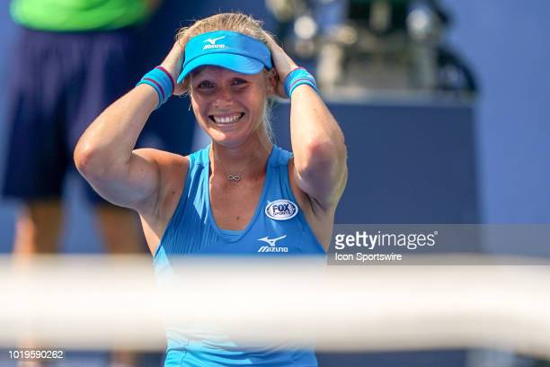 Kiki Bertens of the Netherlands reacts after defeating Simona Halep of Romania in the championship match of the Western Southern Open singles final...