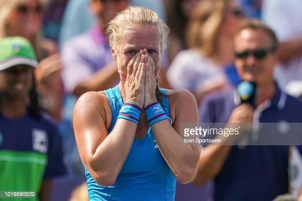 Kiki Bertens of the Netherlands reacts after defeating Simona Halep of Romania in the Western Southern Open singles final at the Lindner Family...