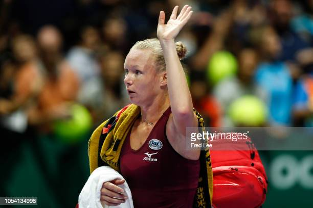 Kiki Bertens of the Netherlands reacts against Elina Svitolina of the Ukraine during the women's singles semi final match on Day 7 of the BNP Paribas...