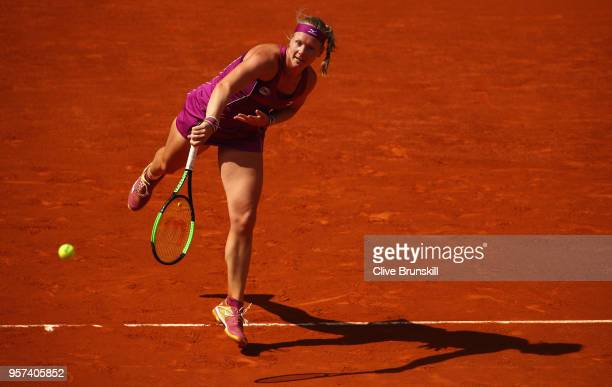 Kiki Bertens of the Netherlands serves against Caroline Garcia of France in their semi final match during day seven of the Mutua Madrid Open tennis...