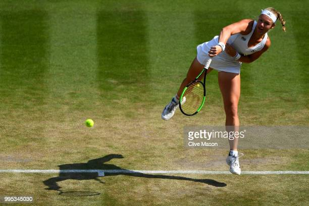 Kiki Bertens of the Netherlands serves against Julia Goerges of Germany during their Ladies' Singles QuarterFinals match on day eight of the...