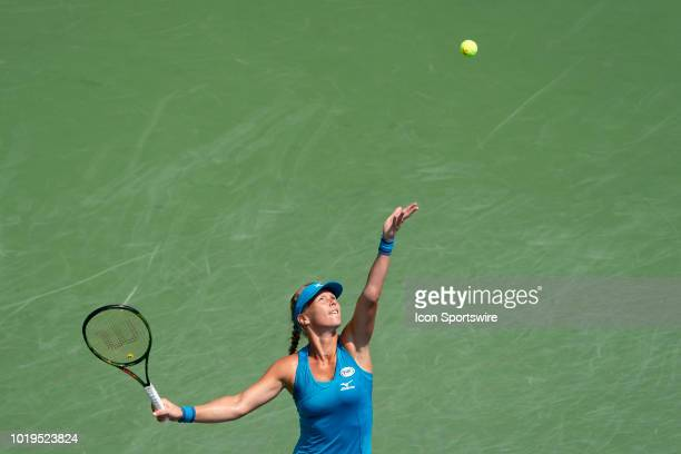 Kiki Bertens of the Netherlands serves the ball to Simona Halep of Romania during the women's final on Day 8 of the Western and Southern Open at the...