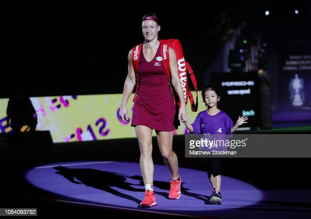 Kiki Bertens of the Netherlands walks onto the court prior to her match against Elina Svitolina of the Ukraine during the women's singles semi final...
