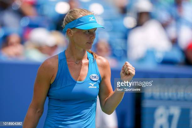 Kiki Bertens reacts during the semifinal match at the Western Southern Open at the Lindner Family Tennis Center in Mason Ohio on August 18 2018