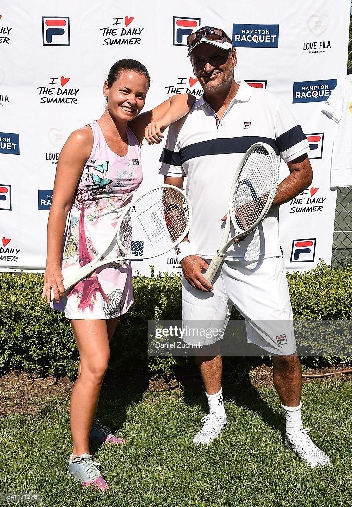 Kiki Hajkova and Mike Schmitz attend The Daily Summer's celebration of Marion Bartoli's new LOVE FILA collection at Hampton Racquet on June 18, 2016 in East Hampton, New York.
