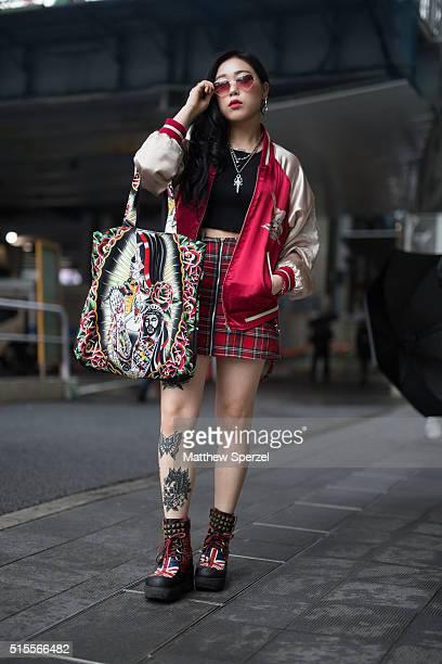 Kiki Kimina is seen attending Tsukasa Mikami during Tokyo Fashion Week on March 14 2016 in Tokyo Japan