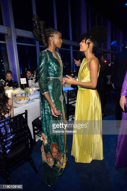 KiKi Layne and Yara Shahidi both wearing Gucci attend the 2019 LACMA Art Film Gala Presented By Gucci at LACMA on November 02 2019 in Los Angeles...