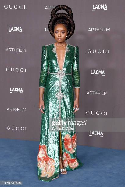 KiKi Layne arrives at the 2019 LACMA Art Film Gala Presented By Gucci on November 2 2019 in Los Angeles California