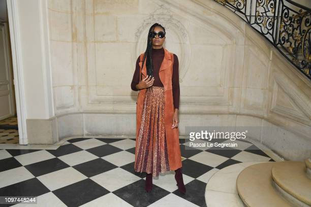 Kiki Layne attends the Christian Dior Haute Couture Spring Summer 2019 show as part of Paris Fashion Week on January 21 2019 in Paris France