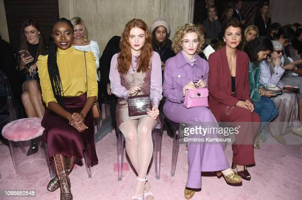 Kiki Layne Sadie Sink Julia Garner and Maggie Gyllenhaal attend the Kate Spade Fashion show during New York Fashion Week at Cipriani 25 Broadway on...