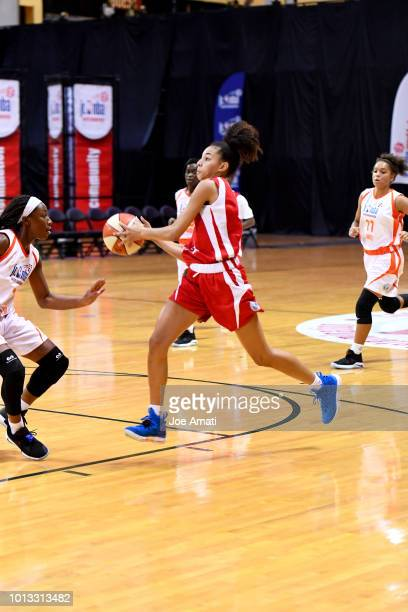 Kiki Rice of the MidAtlantic Girls handles the ball against the South Girls during the Jr NBA World Championship on August 8 2018 at ESPN Wide World...