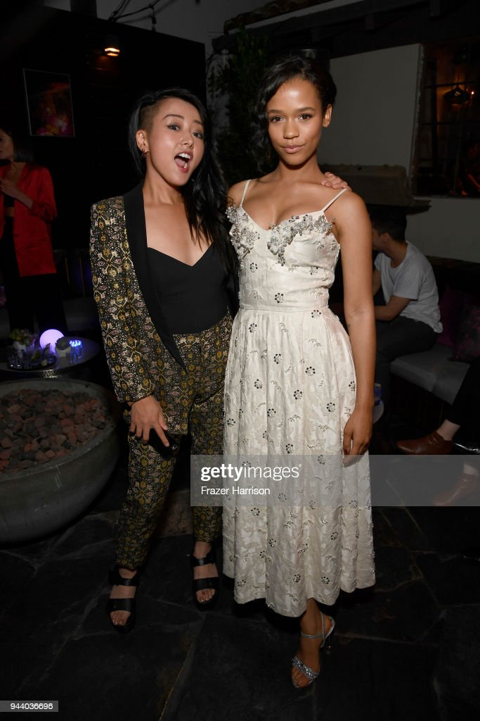 Kiki Sukezane and Taylor Russell attend the Premiere Of Netflix's 'Lost In Space' Season 1 After Party at Le Jardin LA on April 9, 2018 in Los Angeles, California.