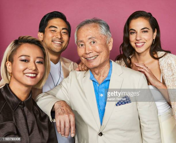 Kiki Sukezane Derek Mio George Takei and Cristina Rodlo of 'The Terror Infamy' pose for a portrait during the Pizza Hut Lounge at 2019 ComicCon...