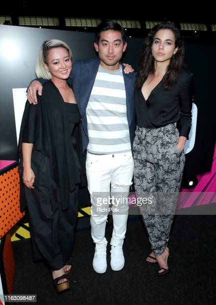 Kiki Sukezane, Diego Tinoco and Cristina Rodlo attend the #IMDboat Party presented by Soylent and Fire TV at San Diego Comic-Con 2019 at the IMDb...