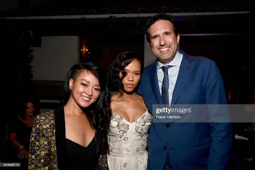 Kiki Sukezane,Taylor Russell, Zack Estrin attend the Premiere Of Netflix's 'Lost In Space' Season 1 After Party at Le Jardin LA on April 9, 2018 in Los Angeles, California.