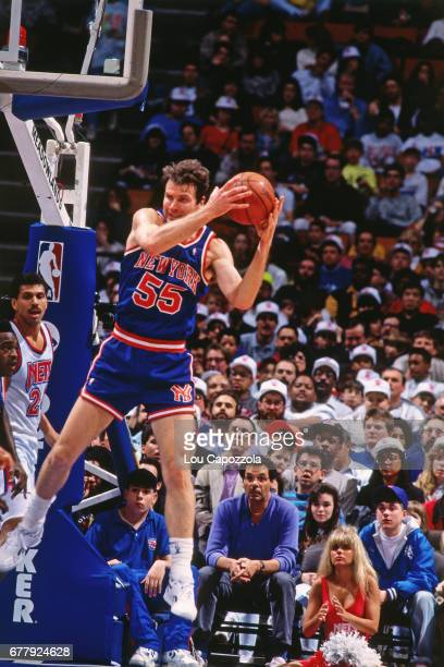Kiki Vandeweghe of the New York Knicks rebounds against the New Jersey Nets circa 1990 at the Brendan Byrne Arena in East Rutherford New Jersey NOTE...