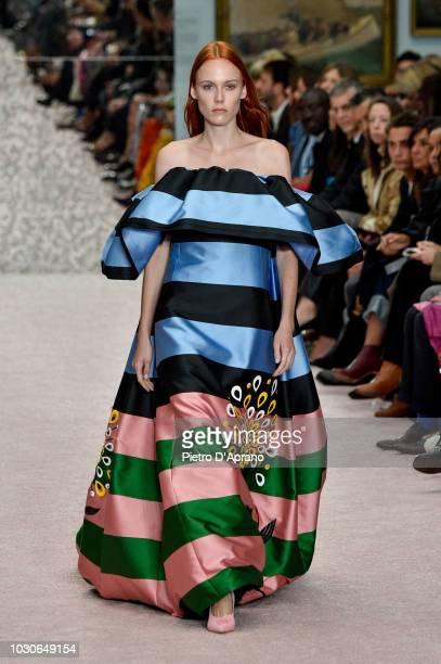 Kiki Willems walks the runway at Carolina Herrera fashion show during New York Fashion Week on September 10, 2018 in New York City.