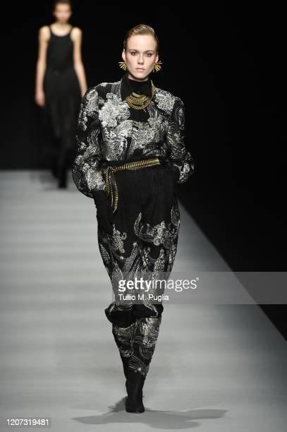 Kiki Willems walks the runway during the Alberta Ferretti fashion show as part of Milan Fashion Week Fall/Winter 2020-2021 on February 19, 2020 in...